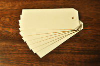50 CREAM TAGS 120MM X 60MM  UNSTRUNG CRAFT LUGGAGE LABEL WITH CREAM WASHERS