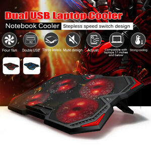 """17"""" Quiet Gaming Laptop Cooler Cooling Pad Stand With 2 USB Powered 4 Fans"""