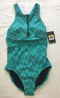 NIKE Women's Size Medium Menta Aqua Blue One Piece High Neck Crossback Swimsuit