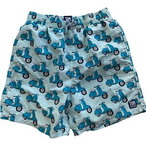 Tom & Teddy Boys Size 11/12 Swim Trunks Shorts Moped Scooter Brief Lining d11