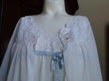 Vintage 100% Nylon Lady Lynne White Gown & Robe Peignoir Set Size Medium