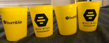Set of FOUR (4) Bumble Smartphone Social Dating App Yellow Plastic Cups BPA Free