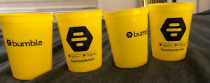 Set of FOUR (4) Bumble Dating App, Promotional Yellow Plastic Cups, BPA Free