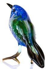 Greenfinch Glass Sculpture, Blown Art, Home Decor Clear Bird Figurine