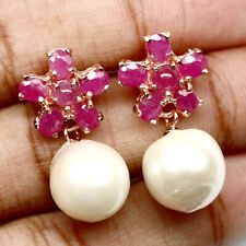 REAL 12 mm. CREAMY WHITE PEARL AND PINK RUBY 925 STERLING SILVER EARRINGS