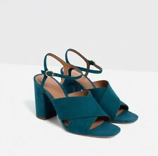 Zara Ladies Petrol Blue Teal Leather Suede Cross Over Sandals Shoes UK 5 EU 38