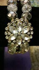 Fashion Clear White Glass metal Rhinestones Flowers Stretchy Bracelet size 7-8