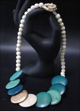 Joya Collar cadena de Madera Tablones 55cm Turquesa #10