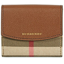 Burberry House Check and Leather Wallet- Tan