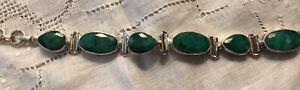 """Faceted Natural Emerald Hinge Link Bracelet Set In 925 sterling Silver 7 1/2"""""""