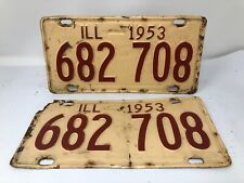 Pair 1953 Illinois License Plate.  #682 708 Tag hot rod chevy ford gas oil sign