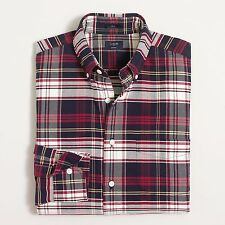NWT J Crew Men's Red Blue Slim Oxford Shirt In Plaid Small S