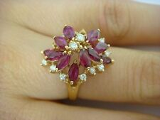 BEAUTIFUL 14K GOLD 2.00 CT. T.W. MARQUISE RUBIES AND DIAMONDS COCKTAIL RING