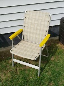 """Vintage Folding Lawn Chair Aluminum Webbed Beige Yellow  Striped 34"""" Tall NICE!!"""