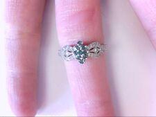 Nice 14K WG Designed Cluster White/BluishTreated Cluster Diamond Ring.9 US Size