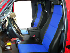 FORD RANGER 2010-2011 BLACK/BLUE LEATHER-LIKE 2 FRONT SEAT & CONSOLE COVERS