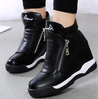 Womens Platform Sport Sneakers Ankle Boots High Top Side Zipper Shoes Casual