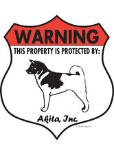 "Warning! Akita - Property Protected Aluminum Dog Sign - 7"" x 8"" (Badge)"