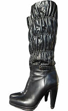PRADA €1500 Logo Knee High Heel Boots Black Shoes Crinkle Leather sz 38.5 UK 5.5