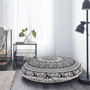 82 Cm Black & White Elephant Mandala Floor Pillow Meditation Round Cushion Cover
