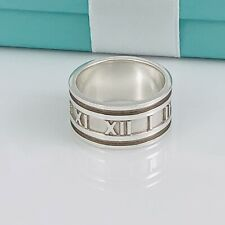 Size 10 Tiffany & Co Silver Atlas Ring Mens Unisex Wide Band Roman Numerals