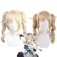 Game Genshin Impact Babara Cosplay Wigs Blonde Brown Curly Ponytails Lolita Wig