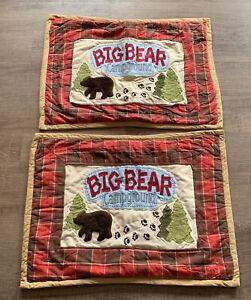 Woolrich Kids Big Bear Campground PAIR Pillow Shams Red Plaid Standard
