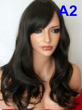 Dark Brown WOMENS ADULT Wavy Curly Real natural Fashion Adult fringe full Wig A2