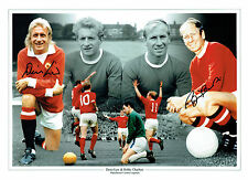 Bobby CHARLTON Denis LAW Signed Man Utd 16x12 Autograph Montage Photo AFTAL COA