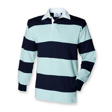 Front Row Men's Long Sleeve Sewn Stripe Rugby Shirt M Duck Egg