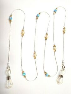 3 pcs EYEGLASS HOLDERS Sterling Silver 925 Chains, Light Blue Opal Beads, Pearls