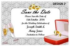 1 x SAVE THE DATE WEDDING PERSONALISED INVITATIONS CUSTOM INVITE + FREE MAGNETS