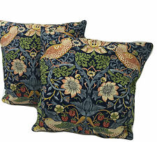 "William Morris Pair Of Matching  Strawberry Thief Indigo Cushion Cover 17"" x 17"""