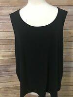 Eileen Fisher Woman Black Tank Top Size 3X Sleeveless Stretchy 100% Silk