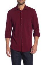14th & Union Men's Knit Button Front Shirt Burgundy Royale size Large