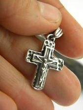 Sterling silver cross hammered textured crucifix pendant