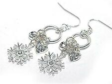 Snowflake Winter Ice Crystal Heart Earrings Sparkly Holiday Christmas Dangly