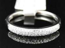 10K White Gold Womens Round Cut Diamond Pave Set Wedding band Ring 3.5 MM