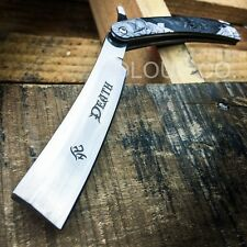 GRIM REAPER Straight Blade Barber Razor Folding Pocket Knife Shaving Cut Throat