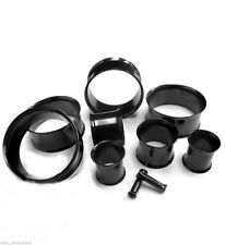 PAIR-Titanium Black PVD Double Flare Tunnels 08mm/0 Gauge Body Jewelry
