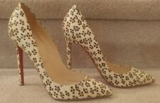 CHRISTIAN LOUBOUTIN Ivory Leopard Print Snake Embossed So Kate Pumps NEW Size 37