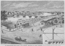 Sachsenhausen, Frankfurt-Offenbacher-Trambahn, Original-Holzstich 1885