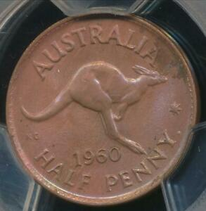 Australia 1960(p) Halfpenny 1/2d Elizabeth II - PCGS MS63RB (Ch-Unc)