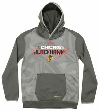 Reebok NHL Youth Chicago Blackhawks Forecheck PlayDry TNT Pullover Hoodie, Grey