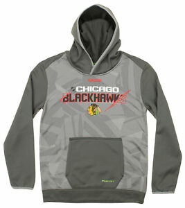 Reebok NHL Youth Chicago Blackhawks Forecheck PlayDry TNT Pullover Hoodie, Grey