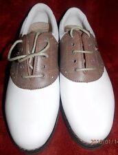 Lady Fairway Colonial Leather White Brown Saddle Golf Shoes 6 Medium SoftSpikes