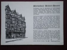 POSTCARD SHROPSHIRE SHREWSBURY HISTORIC HOUSES - PENCIL SKETCH AND LOCAL HISTORY