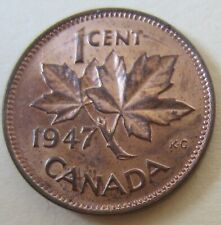 1947 Canada Small Cent Coin. RED UNC (C263)