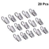 20 Stück Gardinenhaken Metall mit Klammer für Gardinenstangen Vorhang Clips