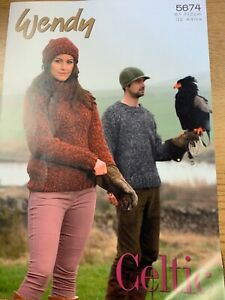 """WENDY KNITTING PATTERN 5674 His & Hers jumper & Hat  32 - 44"""" in Celtic Yarn"""